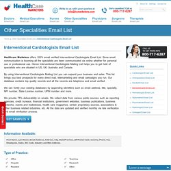 Interventional Cardiologists Email List, Mailing Addresses and Database from Healthcare Marketers