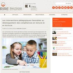 Les interventions pédagogiques favorables au développement des compétences en lecture et en écriture - RIRE — RIRE