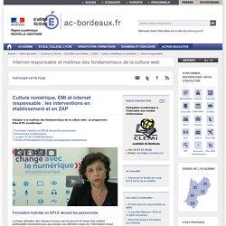 Culture numérique, EMI et internet responsable : interventions en établissement et en ZAP