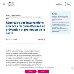 Répertoire des interventions efficaces ou prometteuses en prévention et promotion de la santé