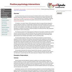 Positive psychology interventions