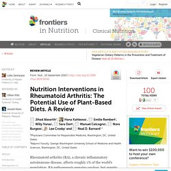 Nutrition Interventions in Rheumatoid Arthritis: The Potential Use of Plant-Based Diets. A Review