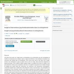Insight et interventions psychoéducationnelles dans la schizophrénie