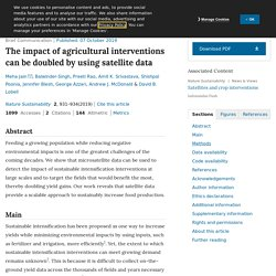 NATURE 07/10/19 The impact of agricultural interventions can be doubled by using satellite data