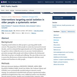 Interventions targeting social isolation in older people: A systematic review