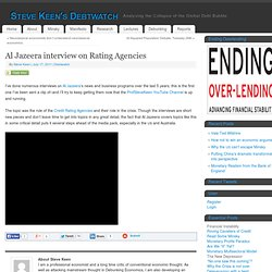 Al Jazeera interview on Rating Agencies