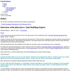 Interview with Julie Joyce, Link Building Expert