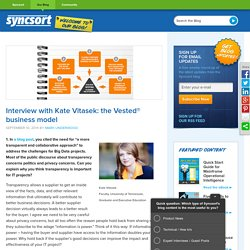 Interview with Kate Vitasek: the Vested® business model - Syncsort blog