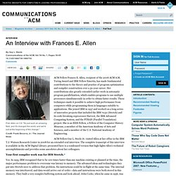 An Interview with Frances E. Allen | January 2011