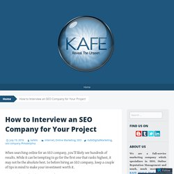How to Interview an SEO Company for Your Project