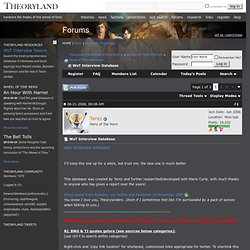 WoT Interview Database - Theoryland of the Wheel of Time Forums