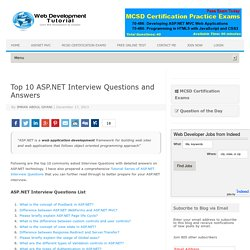 Top 10 ASP.NET Interview Questions and Answers - Web Development Tutorial