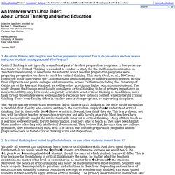 An Interview with Linda Elder: About Critical Thinking and Gifted Education - The Critical Thinking Community