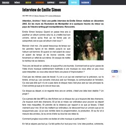 Interview de Emilie Simon