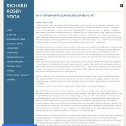 INTERVIEW WITH GEORG FEUERSTEIN 1997 - Richard Rosen Yoga