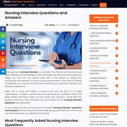 Nursing Interview Questions and Answers Asked By Interviewers