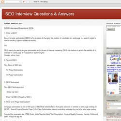 SEO Interview Questions & Answers: SEO Interview Questions 2014