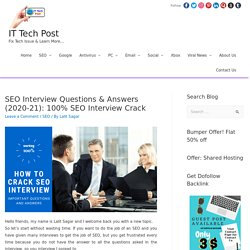 SEO Interview Questions & Answers (2020-21): 100% SEO Interview Crack - SEO