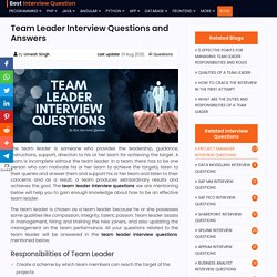 Top 40 Team Leader Interview Questions and Answers For 2020