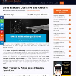 Best Sales Interview Questions And Answers 2020