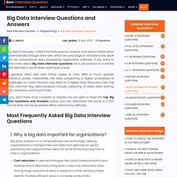 20+ Top Big Data Interview Questions And Answers in 2020