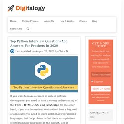 Top Python Interview Questions and Answers for Freshers in 2020 – Digitalogy