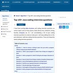 Top 100+ Java coding interview questions - Java2Blog