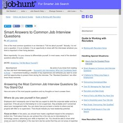 Smart Answers to Common Job Interview Questions - Job-Hunt.org, @JobHuntOrg