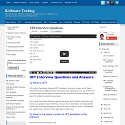 UFT Interview Questions