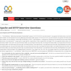 Apache and HTTP Interview Questions
