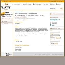 BZC603 - Atelier: L'interview radiophonique : analyse et pratique
