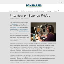 Interview on Science Friday – Pam Harris