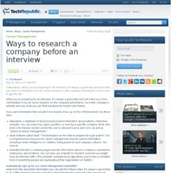 Ways to research a company before an interview