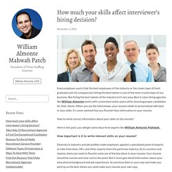 How much your skills affect interviewer's hiring decision? – William Almonte Mahwah Patch