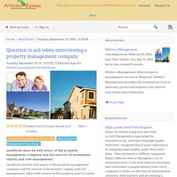 Question to ask when interviewing a property management company