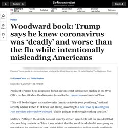 Bob Woodward book: In Trump interviews for 'Rage,' president says he downplayed coronavirus threat