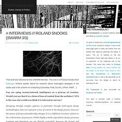 # INTERVIEWS /// Roland Snooks (Swarm 3/3)