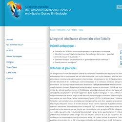 Allergie et intolérance alimentaire chez l'adulte