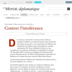 Contrer l'intolérance, par Nassir Abdulaziz Al-Nasser (Le Monde diplomatique, octobre 2015)