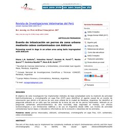 Rev. investig. vet. Perú vol.28 no.3 Lima jul./set. 2017 Poisoning event in dogs in an urban area using baits impregnated with Aldicarb