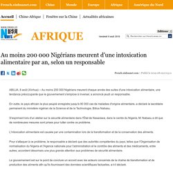 XINHUA 08/08/19 Au moins 200 000 Nigérians meurent d'une intoxication alimentaire par an, selon un responsable