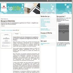 UNIVERSITE DE POITIERS - 2015 - Thèse en ligne : Intoxications par les champignons supérieurs en France : enquête aux Urgences du CHU de Poitiers