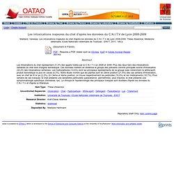 OATAO - 2011 - Thèse en ligne : Les intoxications majeures du chat d'après les données du C.N.I.T.V de Lyon 2008-2009