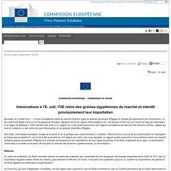 Intoxications à l'E.coli: l'UE retire des graines égyptiennes du marché et interdit provisoirement leur importation