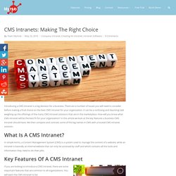 CMS Intranets: Making The Right Choice