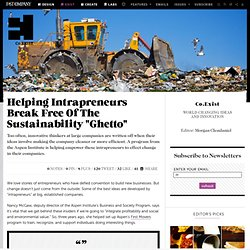 "Helping Intrapreneurs Break Free Of The Sustainability ""Ghetto"""