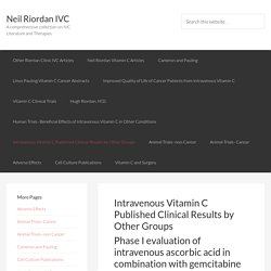 Intravenous Vitamin C Published Clinical Results by Other Groups