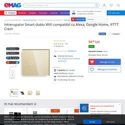 Intrerupator Smart dublu WiFi compatibil cu Alexa, Google Home, IFTTT Crem