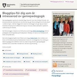 Bloggtips-för dig som är intresserad av genrepedagogik