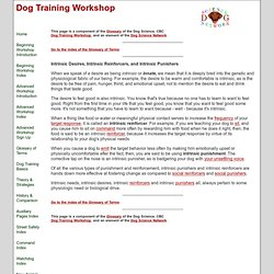 Focusing on intrinsic reinforcers and punishers, and your dog's innate needs